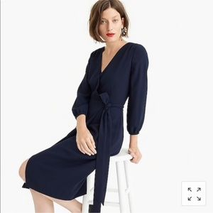 NWT J. Crew Navy Wrap Dress in 365 Crepe, Size 20